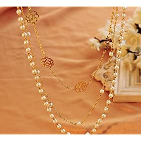 【JIJI*HOUSE for Jewel】 < おまけ 付き > ローズ フラワー パール ロング ネックレス 3連 重ねづけ 結婚式 セット ( ゴールド × ホワイト ) 015