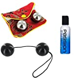 Ben Wa Balls Kegel Stainless Steel with Pouch and Black Duo Balls on a String with Passion Natural Water-based Lubricant 2.0 Oz