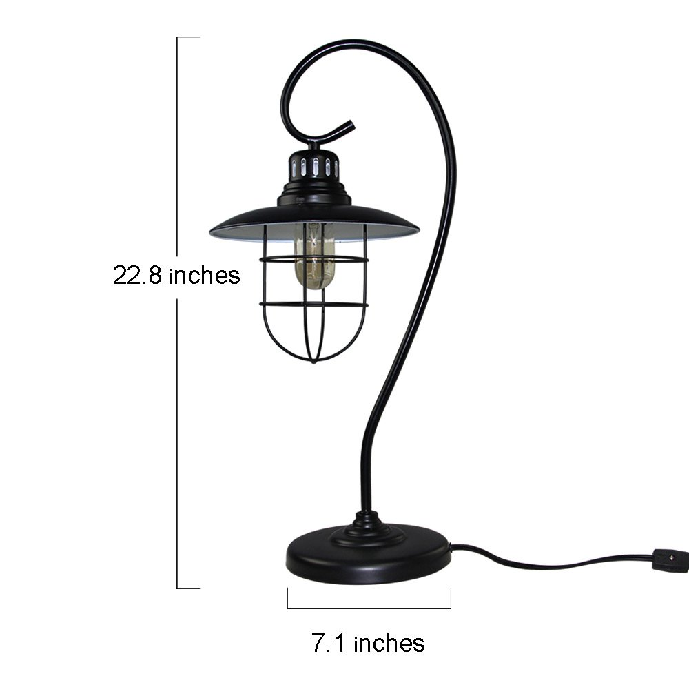 LNC Iron Glass Vintage Industrial Table Lamp 1