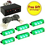 DIYAH 18 LED High Intensity LED Law Enforcement Emergency Hazard Warning Strobe Lights For Interior Dash Windshield With Suction Cups (Green)
