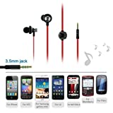 IKross In-Ear 3.5mm Noise-Isolation Stereo Earphones With Handsfree Microphone Headset- Red / Metallic Black for Nokia Lumia 1520/ 1320/ 635/ 1020/ 930/ 735/ 620/ 530/ 625/ 920/ 830; Samsung Galaxy S5, Galaxy Note 4, Galaxy Note 3, Galaxy Note 2, Galaxy