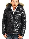 (スペイド) SPADE ジャケット メンズ 中綿 ファー フード キルティング【a500】 (L, ブラック)
