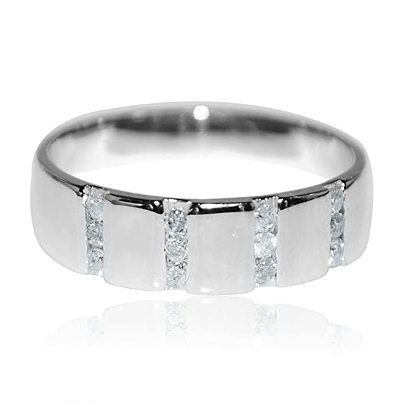 Midwest Jewellery Women's Wedding Band Ring 10K White Gold 5.5Mm Wide 0.22Cttw Anniversary Ring Size 7(I/J Color 0.22Cttw)