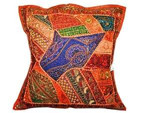 """Beaded Pumpkin Vintage Sari Decorative Indian Pillow Cushion Cover 24"""""""