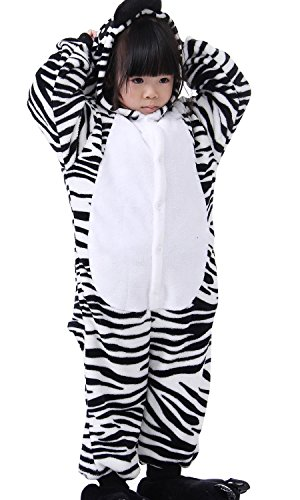 FashionFits Kid's Unisex Soft Flannel Jumpsuit Zebra Onesie Party Costume Pajama