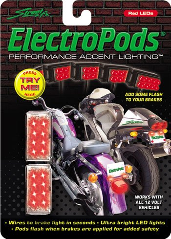 ElectroPods Flashing Red LED Motorcycle Brake Lights &#8211; Chrome Casing