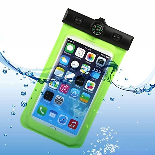 ULIKE (TM) Universal Waterproof Pouch Case Armband for Apple iPhone 6 Plus 6 5S,LG G3 LG L90,Samsung Galaxy A7 S5 S4 S3 Note 4 Note 3,Ipod Touch,Windows Phones,GPS,Passport,Money etc. – Certified Waterproof Up to 20 feet (IPX6) – Great To Use While You Snorkel,Swim, Snowboard, Boat, Kayak – Works like a Dry Bag,Black Adjustable Strap and with Compass (A-Green)