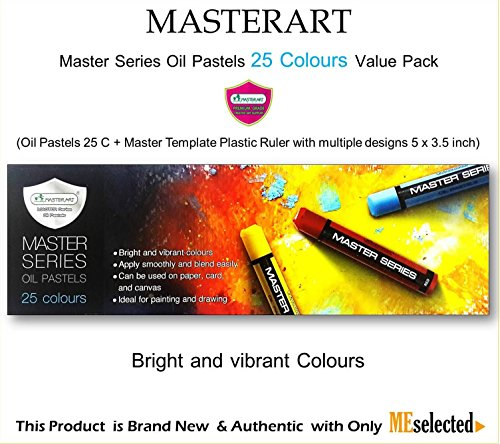 MASTER ART Master Series Oil Pastel 25 Colours Value Pack come with Multiple design Plastic Template Ruler (Oil Pastel Colorless Blender compare prices)