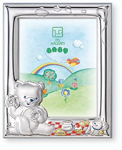 Silver Touch USA Sterling Silver Picture Frame Bear Honey Bee, Made in Italy, Blue, 4 Inch X 6 Inch