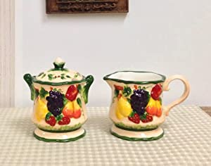 3-D MIxed Fruit Ceramic Creamer & Sugar, 87032 by ACK