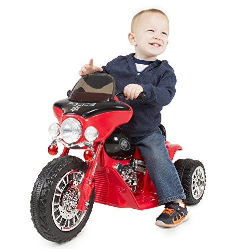 3 Wheel Mini Motorcycle Trike for Kids, Battery Powered Ride on Toy by Rockin ' Rollers  – Toys for Boys and Girls, 2 - 5 Year Old  – Police Car Red