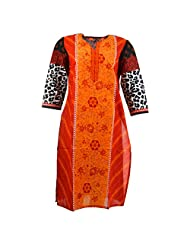 Pahal Women's Printed Cotton Red And Black Kurti