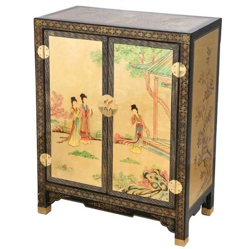 Cheap EXP Handmade Furniture – 29″ Black & Gold Lacquer Storage Cabinet / End Table Chinese Maiden Motif (B001JIAV3S)