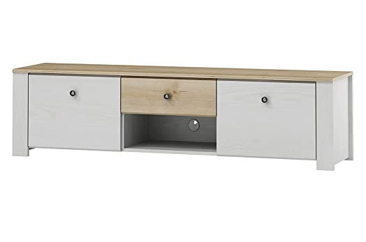 Porta tv 2 ante 1 cassetto tinta larice bianco e tinta faggio cm. 160 Alpen 25