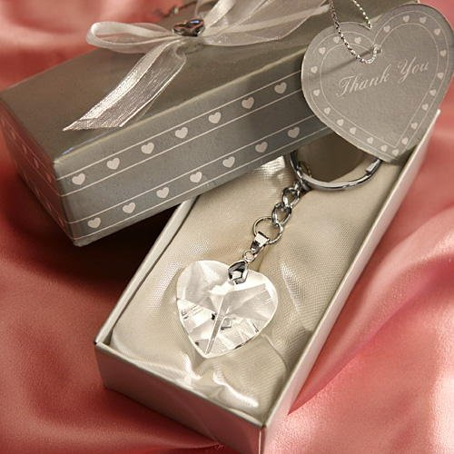 Chrome Key Chain with Crystal Heart Wedding Favors, 72