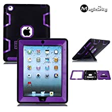 buy Magicsky Hybrid Dual Layer Armor Defender Case With Kickstand For Ipad 2 / 3 / 4 - Purple/Black