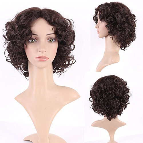 S-noilite Women Medium Short Outre Fluffy Curly Hair Wig Cosplay Party Dress Heat Resistant Synthetic Wigs Brown