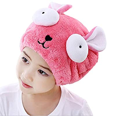 Shintop Dry Hair Cap Microfiber Absorbent Cartoon Hair Wrap Cap for Kids