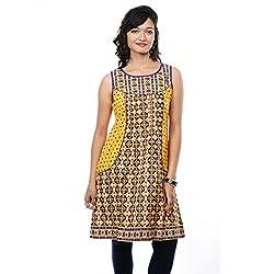 Saamarth Impex U Neck Multi-color Printed Sleeve Less Pakistani Style Printex Kurities SI-2088