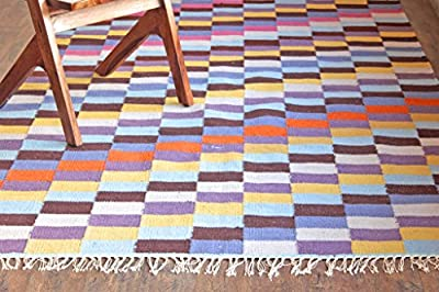 Hot Weave Handwoven and Handmade 5'x8' Multicolor Box Pattern Area Rug, Style 0658