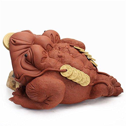 Yummy Chinese® Chinese Yixing Zisha Handmade Kungfu Earthenware Cha Chong Tea Favour Pet Jinchan 3 Legs Golden Toad Series 4 (No.1985Red)