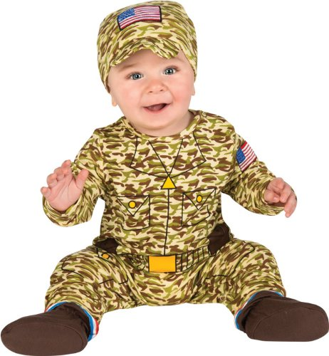 Rubie's Costume Baby's First Halloween Army Man One-Piece Printed Jumper Hat and Booties, Multicolor, 6-12 Months