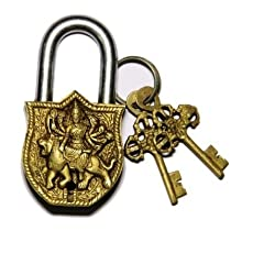 Purpledip Handmade Brass Antique Lock with Maa Durga Idol (10006)
