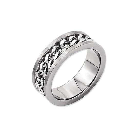 Black Bow Jewellery Company : Titanium 7mm Chain Inlay Brushed Band