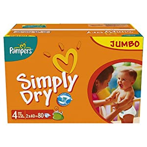 Pampers Simply Dry Size 4 (Maxi)2 X Jumbo Packs of 80 Nappies (160 nappies)