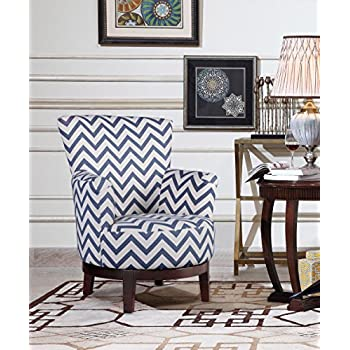 NHI Express Victoria Swivel Chevron Accent Chair (1 Pack), Multicolor