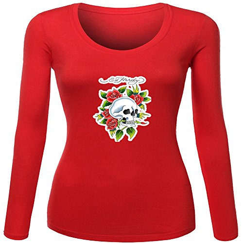 Fashion Ed Hardy long sleeve Tops T shirts -  Maglia a manica lunga  - Donna Red Large