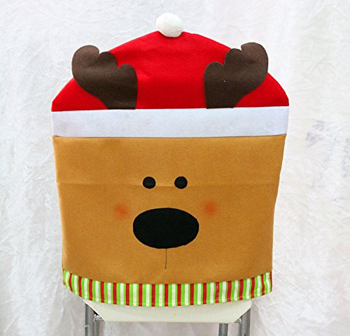 Christmas Dinner Decorations Chair Hat Back Covers Santa Clause Snowman Reindeer Pattern:Red Brown Cute Reindeer (Elf From Santa Clause)