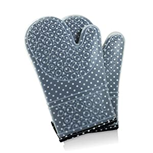 Premium Quality Heat Resistant Silicone Oven Mitts with Quilted Inner Lining - ideal for Baking, Grilling, BBQ