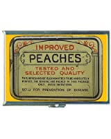 Vintage Condom Tin Peaches Double-Sided Cigarette Case, ID Holder, Wallet with RFID Theft Protection