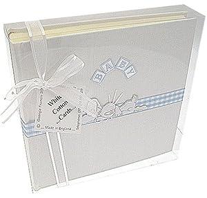 White Cotton Cards - Álbum de fotos infantil con cenefa, tamaño mediano, color azul y blanco - BebeHogar.com