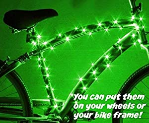 Activ Life LED Wheel Lights (1 Tire, Green) Fun Bicycle Spoke Wire & Bike Frame Safety String Lights - Best Wheelchair & Top Baby Stroller Accessory for Men, Women, Children and Popular Teens (Color: Green, Tamaño: 1-Wheel)