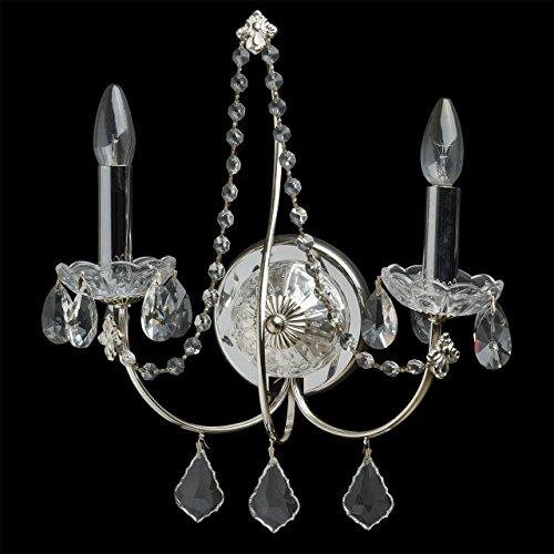 Applique style classique, armature en métal couleur chrome, plafonniers en verre, décoré avec pendeloques en cristal 2 ampoules non-incl. E14 2x60W 230V