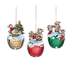 #!Cheap Charming Tails Jingle Bells Mouse Christmas Ornaments: Set Of Three by The Bradford Exchange
