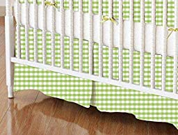 SheetWorld - MINI Crib Skirt (24 x 39) - Sage Gingham Jersey Knit - Made In USA
