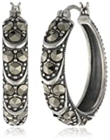 Sterling Silver and Oxidized Marcasite Textured Hoop Earrings from PAJ, Inc
