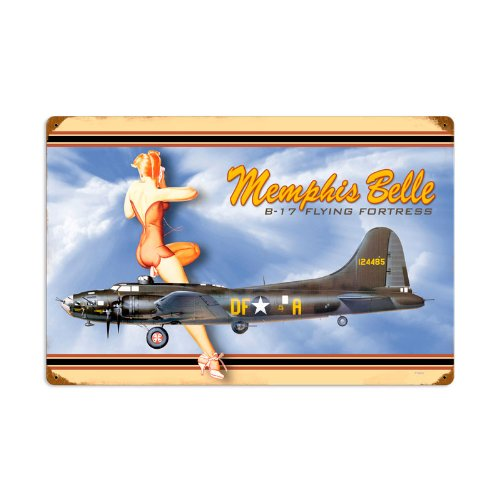 Memphis Belle B-17 Flying Fortress Pinup Vintage Metal Sign 24X16 Steel Not Tin