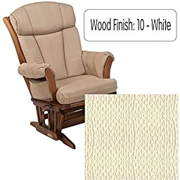 Dutailier 908 Series Maple Multiposition Reclining Glider W/Lock in White With Cushion (5023)
