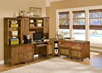 Hot Sale Fiji 7 Piece Office Furniture Set in Solid Mahogany and Natural Indoor Wicker