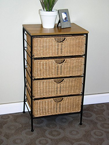4D Concepts 4 Drawer Wicker & Metal Accent Table (Wicker Console compare prices)
