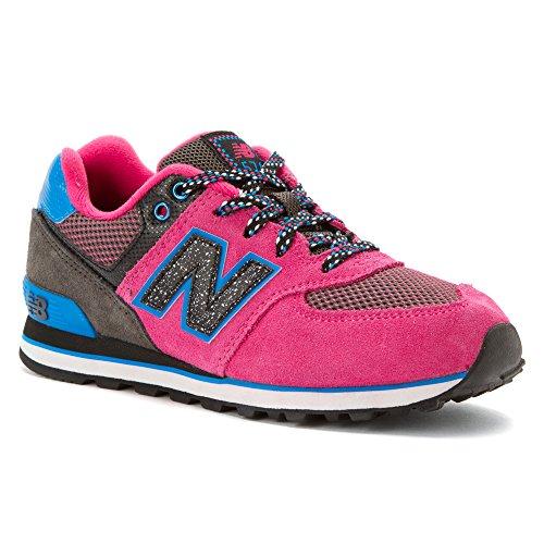 New Balance Girl's KL574 Black/Pink - Outside In 7 M
