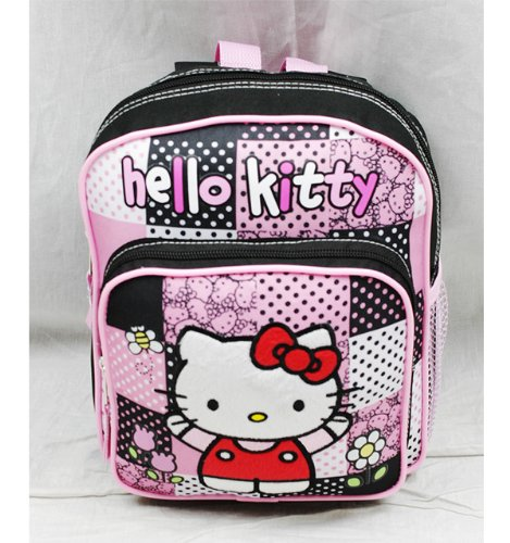 "Sanrio Hello Kitty Mini Backpack with zip closer [Black/Pink] 8""L x 10""H x 3.5""D - 1"