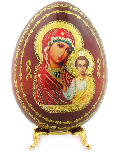 Wood Wooden Russian Icon Egg Madonna & Child Virgin of Kazan Gold Egg Stand