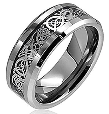 King Will Silver Celtic Dragon Inlay Tungsten Carbide Ring Comfort Fit Polished Finish Band