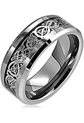 Sale! King Will 8mm Silver Celtic Dragon Inlay Tungsten Carbide Ring Comfort Fit Wedding Bands Polished Finish