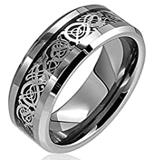 buy King Will 8Mm Tungsten Carbide Ring Silver Celtic Dragon Inlay Comfort Fit Wedding Bands Polished Finish (13)